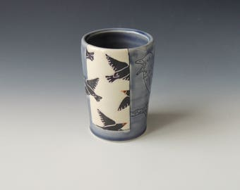 Purple Starling Tumbler - ceramic porcelain clay cup with stencil birds and mishima bird - handmade wheel thrown pottery