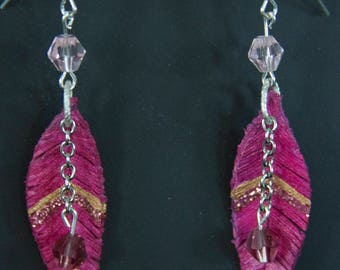 Pink Glitter Leather Feather Earrings