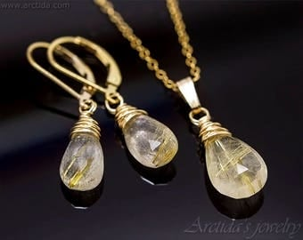 Faceted Golden Rutilated Quartz pendant Golden Rutilated Quartz necklace - wiccan jewelry pagan necklace wicca wedding jewelry bridal -Elina