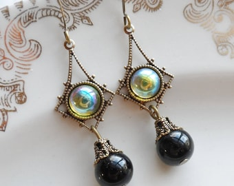 75% Off Clearance Sale, Iridescent Green Vintage Glass Earrings with Black Obsidian Beads