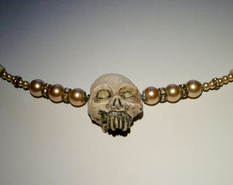 Zombie Shabby Chic, Pearls, Cock Tail, Creepy Wedding, Rotted,  Zombie Head Necklace