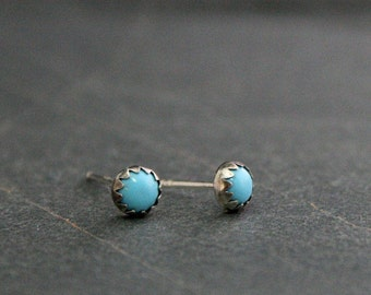 Tiny Turquoise Sterling Silver Stud Earrings 4mm Cabochon Round Natural Turquoise Gemstone Post Earring Turquoise Jewelry Silver Studs Posts
