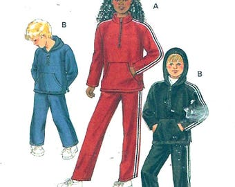 Kids Athletic wear Childrens Back to school hoodie top sweat pants jogging suit retro style sewing pattern  Kwik Sew 2802 Size 4 to 7 UNCUT