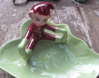 Little Pixie on a Leaf, candy dish,ashtray,handcrafted in 1952 as a Christmas present