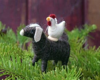 Chicken on a Goat - Circus Farm Stack - Needle Felted Christmas Ornament
