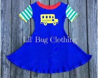 Back to School Girl Dress, Back To School Girl Outfit, Back To School Bus Comfy Knit Dress, Back To School Bus Dress, Back To School Outfit