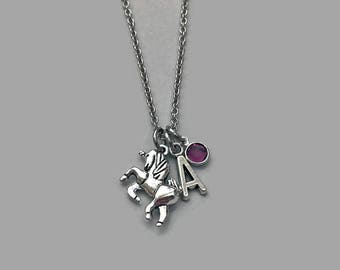 Unicorn Charm Necklace, Unicorn Necklace, Unicorn Jewelry, Unicorn Lover Charm, Unicorn Lover Necklace, Personalized Charm Necklace