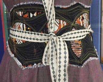 Ancestry Cloth Obi Belt #36 - One of a Kind Wearable Fine Art, Dawn Patel Art, tuxedo belt, handmade corset belt, linen, canvas, ghana batik