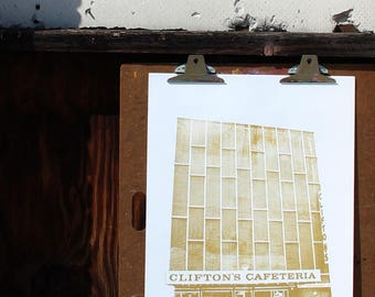 Cliftons Cafeteria 2007 Gold Print - Downtown Los Angeles Urban Planning Print - DTLA Art - Los Angeles History