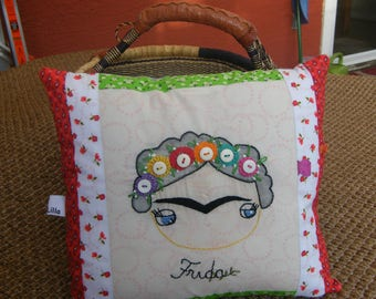 Patchwork Embroidery  Frida Button Love Style Decorative Pillow Cover