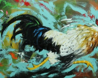Rooster 873 24x48 inch original animal portrait oil painting by Roz