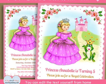 Princess invitation - Princess birthday party invite - cute blonde girl princess & frog theme  INSTANT DOWNLOAD #P-128 - with editable text