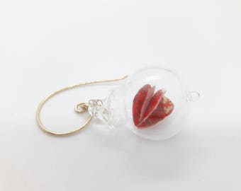 Valentines Blown Glass Pyrex bubble 3D heart earrings- origami paper 3D structure inside