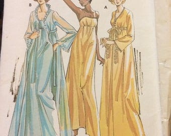 UNCUT Vintage 70's Sewing Pattern Kwik Sew 721 Misses' Night Gown Bust 32-45 inches  Uncut Complete