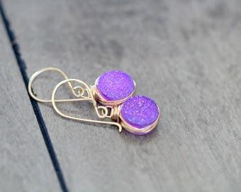 Druzy Gold Earrings, Lavender Dangle Earrings in 14k Gold Filled , Sterling Silver , Rose Gold , Amethyst Purple Druzy - Sugarplum