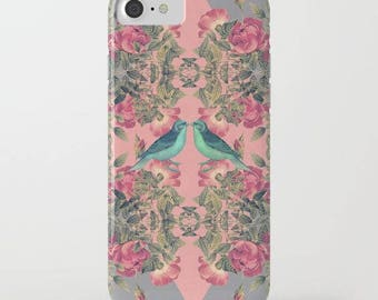 floral iphone case-pink and gray-birds-nature-roses-geometric-love birds-samsung phone cover-gift for her-pretty feminine iphone case