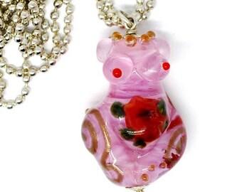 Beautiful ping rose goddess, finished pendant