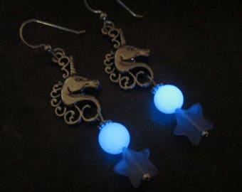 Unicorn Earrings Sterling Silver Glowing Beaded Cats Eye Stars Magical Handmade Glow in the Dark Jewelry Glowies Shiny Blue Lights for Ears
