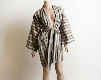 Vintage Linen Kimono - Japanese Haori Style Striped Kimono Jacket Top in Beige Gray and Black - Neutral Tones - Autumn Cotton