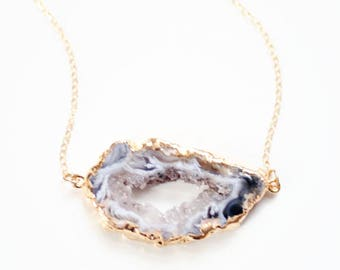 Black Geode Druzy Agate Stone Necklace - 14k Gold Filled | Sterling Silver