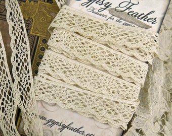 Antique Lace Yardage, German Barmen Lace, 1-1/3 yds...Vintage scalloped edging trim...crazy quilting, fabric books,journals,collage-LY171109