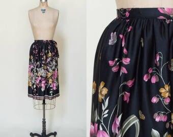 1970s Black Floral Skirt --- Vintage Short Wrap Skirt