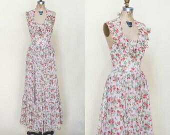 1970s Floral Maxi Dress --- Vintage Halter Dress