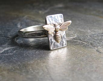 bee ring nature jewelry insect ring honeybee ring metalsmith - Le Petite Bee