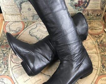 Vintage 80s boho black leather + suede boots 6