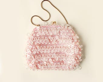 Vintage pink beaded bag, unique bridal clutch, vintage purse, pearl beaded clutch, Pink beaded evening bag
