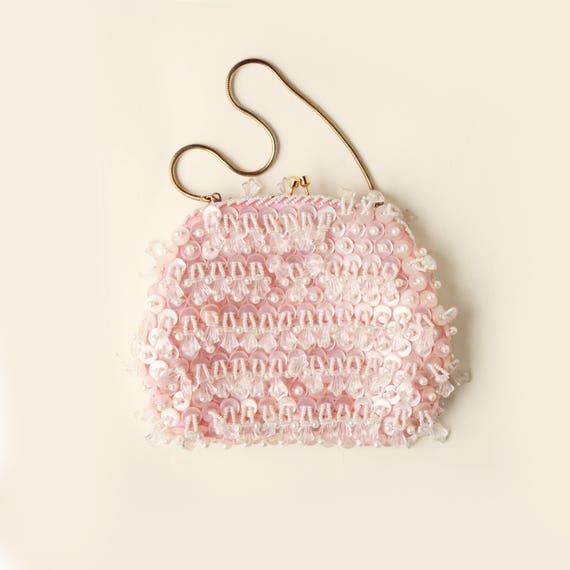 Vintage pink beaded bag, unique bridal clutch, vintage purse, pearl beaded clutch, Pink beaded evening bag