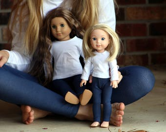 Size 12 SAMPLE SALE - Matching Girl Doll Clothes fits American Girl Doll OR Wellie Wisher - Blue Jeggings