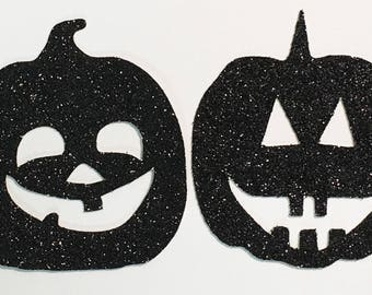 "Halloween Jackolantern Pumpkin Die Cuts Black Glitter Cardstock - 2"" Size - Scrapbook Art Craft Embellishment Party Greeting Card Invitation"