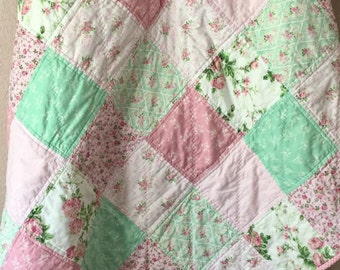 Handmade Cotton Crib Quilt, Kids Quilt, Handmade Lap Quilt, Baby Quilt, Children's Bedding, Crib Blanket, Stroller Cover, Nursery Decor