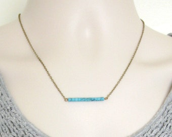 Turquoise bar necklace, dainty gold chain, gemstone beads, minimalist necklace, gold or brass chain
