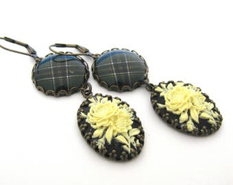 Irish Tartan Jewelry - Ancient Romance Series - Special Occasions Collection - Irish National Floral Cameo Earrings