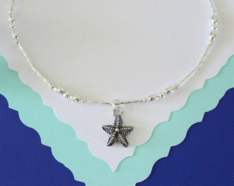 Starfish Anklet Silver Charm, Charm Anklet, Sterling Silver, Choose your Charm Anklet, Yoga, Nautical, Zen, USN, Beach, Vacation