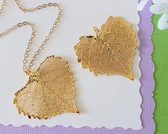 Gold Cottonwood Leaf Necklace, Real Leaf Necklace, Heart Shaped Leaf, Cottonwood Leaf, Gold Leaf Necklace, Long Leaf, Leaf Pendant LC54
