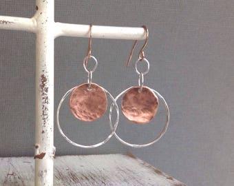 Sterling Silver Hoops - Copper Disc Earrings - Mixed Metal Hoops - Silver And Copper Earrings - Rose Gold Earrings - Lightweight Earrings