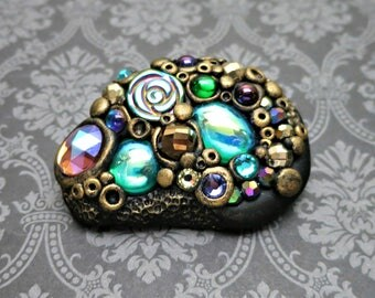 Sparkly Brooch, Pin, Polymer Clay, Jewel Encrusted with Vintage Cabochons, Crystals and More