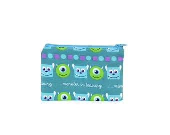 CHOOSE SIZE Monsters Inc. Zipper Pouch /Sully Mike Monsters in Training on Blue / Make Up or Coin Pouch