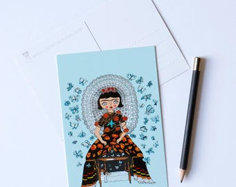 Frida with butterflies - set of 4 postcards - 4 x 6 - Frida Kahlo