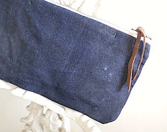 Waxed selvedge denim utility pouch, iPhone case - eco vintage fabrics