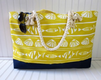Large Beach Bag - Beach Bag Extra Large - Yellow Beach Tote - Water Resistant Lining - Interior Pocket