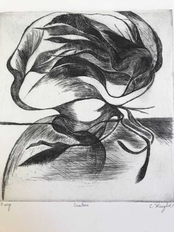 1969 Abstract Etching by C. Wright