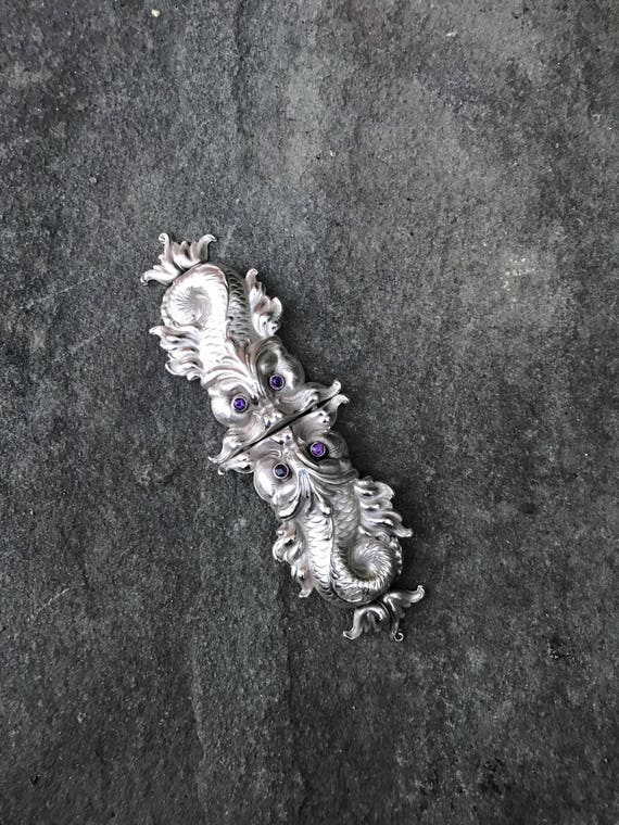 Ca 1915 Sterling Silver and Amethyst Art Nouveau Dolphin Nurse's Buckle by William B. Kerr & Co of Newark