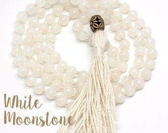 White Moonstone Necklace, Hand-Knotted, 108 Bead Mala