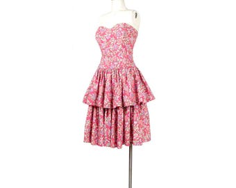 Vintage 80s Dress - 80s Party Dress - 80s Prom Dress - Strapless Floral Dress - 80s Strapless Dress - Pink Party Dress - 80s Pink Dress