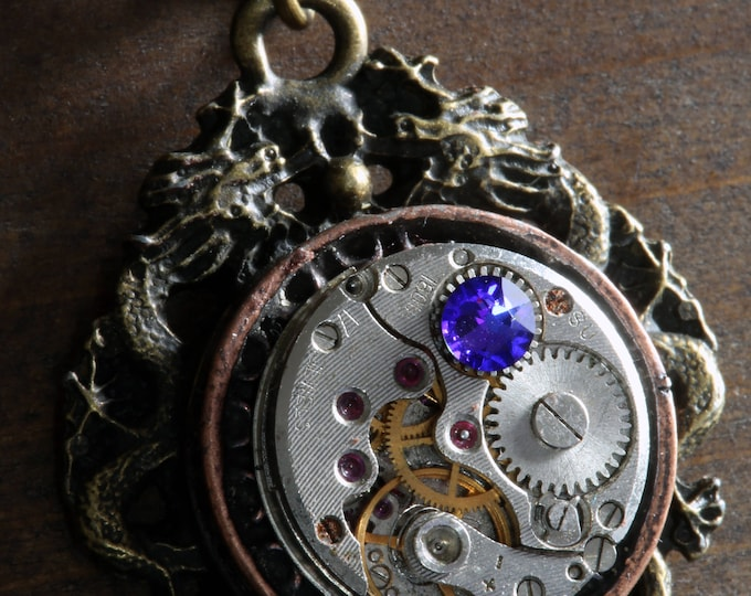 Steampunk Oriental Jewellery -  Necklace - Dragon and Antique Watch Movement with purple heliotrope crystal - Antique bronze