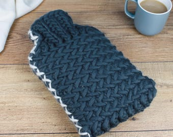 Herringbone Hot Water Bottle and Cover, 2 litre Hot Water Bottle, Wife Christmas Gift, Winter Warmer, Hand Knitted, Luxury Hot Water Bottle